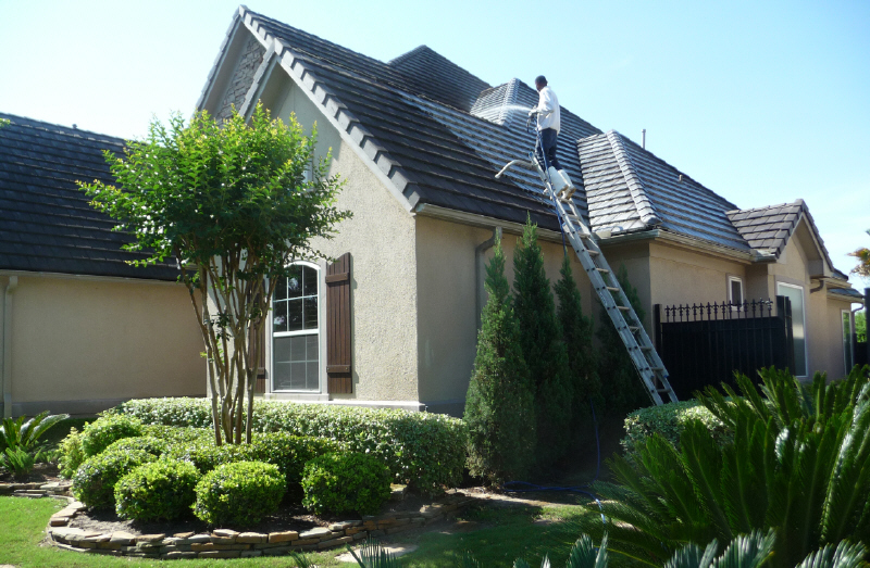 Concrete tile roof cleaning in Houston TX by Katy Memorial Roof Cleaning & Power Washing